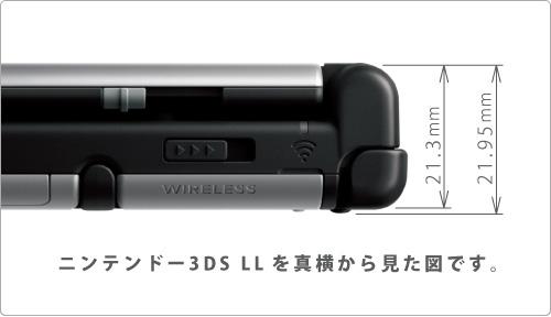 ニンテンドー3DS LLを真横から見た図です。